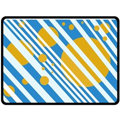 Blue, yellow and white lines and circles Fleece Blanket (Large)