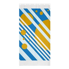 Blue, yellow and white lines and circles Shower Curtain 36  x 72  (Stall)