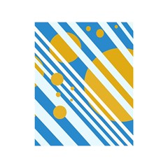 Blue, yellow and white lines and circles Shower Curtain 48  x 72  (Small)