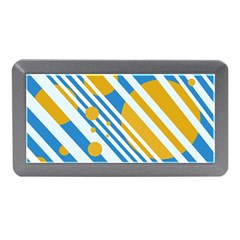 Blue, yellow and white lines and circles Memory Card Reader (Mini)