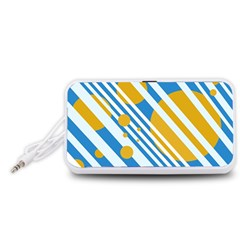 Blue, yellow and white lines and circles Portable Speaker (White)