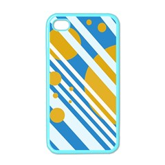 Blue, yellow and white lines and circles Apple iPhone 4 Case (Color)
