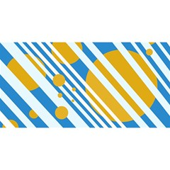 Blue, Yellow And White Lines And Circles You Are Invited 3d Greeting Card (8x4)