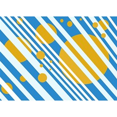 Blue, yellow and white lines and circles Birthday Cake 3D Greeting Card (7x5)