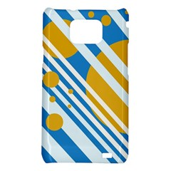 Blue, yellow and white lines and circles Samsung Galaxy S2 i9100 Hardshell Case