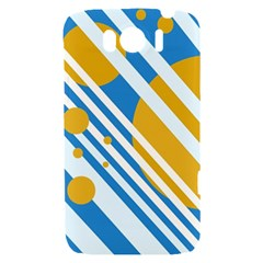 Blue, yellow and white lines and circles HTC Sensation XL Hardshell Case