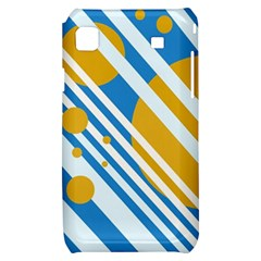 Blue, yellow and white lines and circles Samsung Galaxy S i9000 Hardshell Case