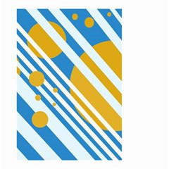 Blue, yellow and white lines and circles Small Garden Flag (Two Sides)