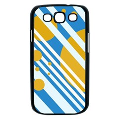 Blue, yellow and white lines and circles Samsung Galaxy S III Case (Black)