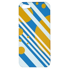 Blue, yellow and white lines and circles Apple iPhone 5 Hardshell Case