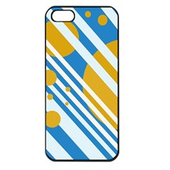 Blue, yellow and white lines and circles Apple iPhone 5 Seamless Case (Black)