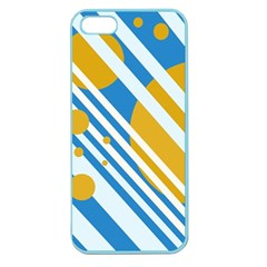 Blue, yellow and white lines and circles Apple Seamless iPhone 5 Case (Color)