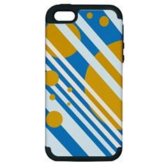 Blue, yellow and white lines and circles Apple iPhone 5 Hardshell Case (PC+Silicone)