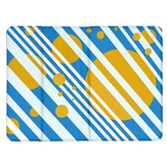 Blue, yellow and white lines and circles Kindle Fire (1st Gen) Flip Case