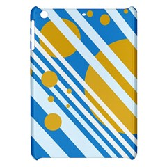 Blue, yellow and white lines and circles Apple iPad Mini Hardshell Case