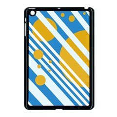 Blue, yellow and white lines and circles Apple iPad Mini Case (Black)