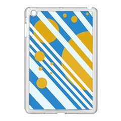 Blue, yellow and white lines and circles Apple iPad Mini Case (White)