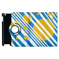 Blue, yellow and white lines and circles Apple iPad 2 Flip 360 Case