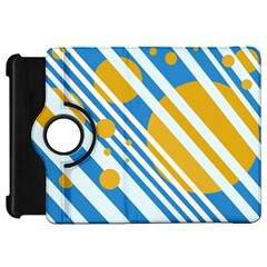 Blue, yellow and white lines and circles Kindle Fire HD Flip 360 Case
