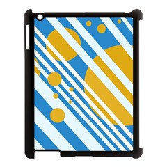Blue, yellow and white lines and circles Apple iPad 3/4 Case (Black)