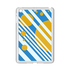 Blue, yellow and white lines and circles iPad Mini 2 Enamel Coated Cases