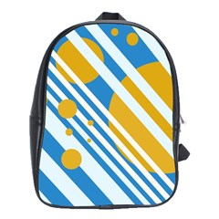 Blue, yellow and white lines and circles School Bags (XL)