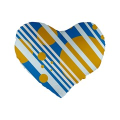 Blue, yellow and white lines and circles Standard 16  Premium Heart Shape Cushions