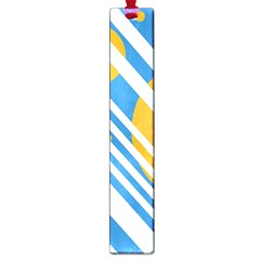 Blue, yellow and white lines and circles Large Book Marks