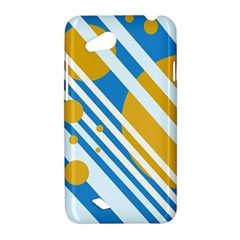 Blue, yellow and white lines and circles HTC Desire VC (T328D) Hardshell Case