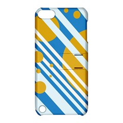 Blue, yellow and white lines and circles Apple iPod Touch 5 Hardshell Case with Stand