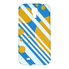 Blue, yellow and white lines and circles Samsung Galaxy S4 I9500/I9505 Hardshell Case