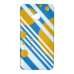 Blue, yellow and white lines and circles HTC One M7 Hardshell Case