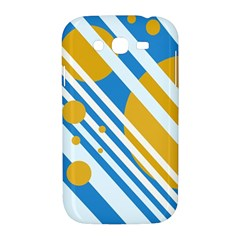 Blue, yellow and white lines and circles Samsung Galaxy Grand DUOS I9082 Hardshell Case