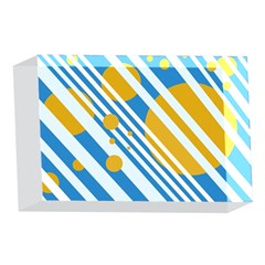 Blue, yellow and white lines and circles 4 x 6  Acrylic Photo Blocks