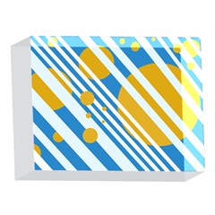 Blue, yellow and white lines and circles 5 x 7  Acrylic Photo Blocks
