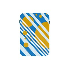 Blue, yellow and white lines and circles Apple iPad Mini Protective Soft Cases