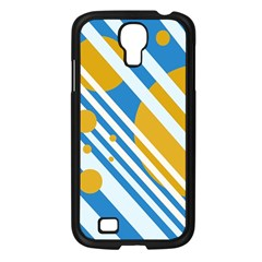 Blue, yellow and white lines and circles Samsung Galaxy S4 I9500/ I9505 Case (Black)