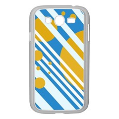 Blue, yellow and white lines and circles Samsung Galaxy Grand DUOS I9082 Case (White)