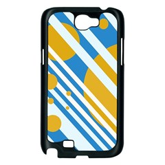 Blue, yellow and white lines and circles Samsung Galaxy Note 2 Case (Black)