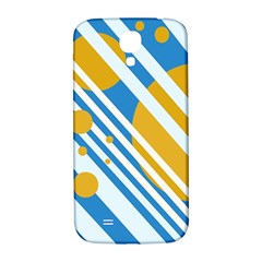 Blue, yellow and white lines and circles Samsung Galaxy S4 I9500/I9505  Hardshell Back Case