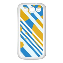 Blue, yellow and white lines and circles Samsung Galaxy S3 Back Case (White)
