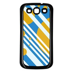 Blue, yellow and white lines and circles Samsung Galaxy S3 Back Case (Black)