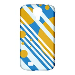 Blue, yellow and white lines and circles Samsung Galaxy S4 Classic Hardshell Case (PC+Silicone)