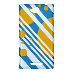 Blue, yellow and white lines and circles Sony Xperia C (S39H)