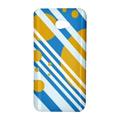 Blue, yellow and white lines and circles HTC Butterfly S/HTC 9060 Hardshell Case