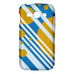 Blue, yellow and white lines and circles Samsung Galaxy Ace 3 S7272 Hardshell Case