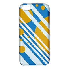 Blue, yellow and white lines and circles Apple iPhone 5C Hardshell Case