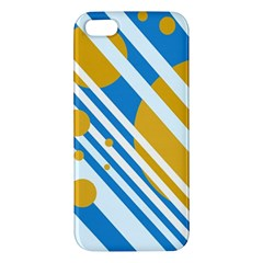 Blue, yellow and white lines and circles iPhone 5S/ SE Premium Hardshell Case