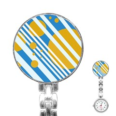 Blue, yellow and white lines and circles Stainless Steel Nurses Watch
