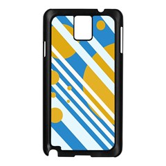 Blue, yellow and white lines and circles Samsung Galaxy Note 3 N9005 Case (Black)